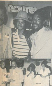 (L) David Vaughn, Editor, Michael Jackson & Ron Bunn at Leviticus, Disco Club, celebrating the Maiden Voyage of Routes Magazine. Below (L-R) Ron Bunn, David Vaughn, Audrey Bernard & Jerry Bledsoe