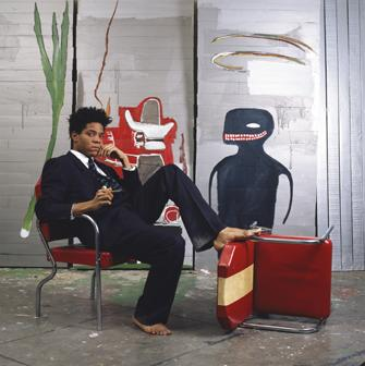 Jean-Michel Basquiat in his studio, 1985. Photograph © Lizzie Himmel