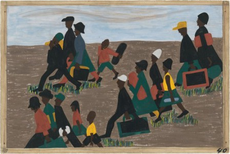 """Jacob Lawrence. The Migration Series. 1940-41. Panel 40: """"The migrants arrived in great numbers."""" Casein tempera on hardboard, 18 x 12″ (45.7 x 30.5 cm). The Museum of Modern Art, New York. Gift of Mrs. David M. Levy. © 2015 The Jacob and Gwendolyn Knight Lawrence Foundation, Seattle / Artists Rights Society (ARS), New York. Digital image © The Museum of Modern Art/Licensed by SCALA / Art Resource, NY"""