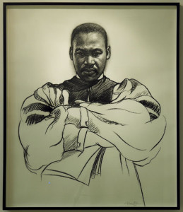 Donovan Nelson, Martin Luther King, charcoal on paper