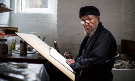 Sudanese artist Ibrahim El Salahi. Photograph: David Levene for the Guardian David Levene/David Levene