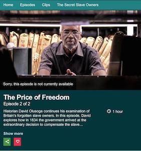 Britain's Forgotten Slave Owners Pt 1 & Pt 2 – The documentary has disappeared from The BBC