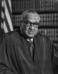 Thurgood-Marshall, 1976 - Thurgood Marshall (July 2, 1908 – January 24, 1993) was an Associate Justice of the Supreme Court of the United States, serving from October 1967 until October 1991. Marshall was the Court's 96th justice and its first African-American justice.