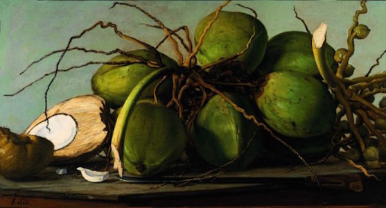 Francisco Oller (Puerto Rican, 1833-1917). Still Life with Coconuts (Naturaleza muerta con cocos), circa 1893. Oil on canvas, 27 3/4 x 44 1/4 in. (70.5 x 112.4 cm), framed. Private collection, New Jersey