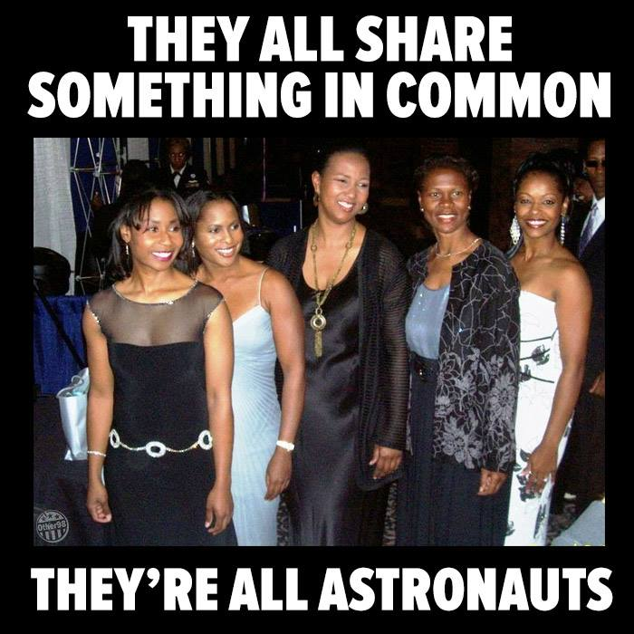 From left to right – Astronauts Stephanie Wilson, Joan Higginbotham, Mae Jemison, Yvonne Cagle and Fighter Pilot Shawna Kimbrell