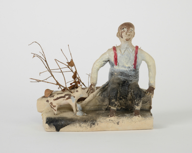Untitled • 1987 • 7.5 x 10 x 5″ Unfired clay, twigs, paint Photograph by Marie Catalano