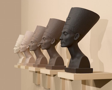 Grey Area (Brown version), 1993. Fred Wilson (American, born 1954). Paint, plaster and wood; five busts, each: 18¾ x 9 x 13 in. (47.6 x 22.9 x 33 cm); overall: 20 x 84 in. (50.8 x 213.4 cm). Brooklyn Museum; Bequest of William K. Jacobs, Jr., and bequest of Richard J. Kempe, by exchange, 2008.6a-j. (Photo: Sarah DeSantis and Jonathan Dorado, Brooklyn Museum)