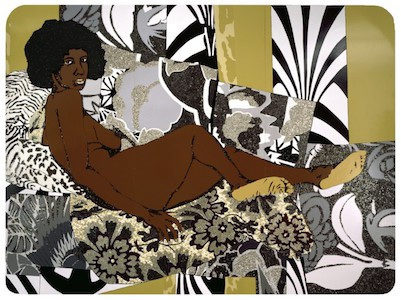 A Little Taste Outside of Love, 2007. Mickalene Thomas (American, born 1971). Acrylic, enamel, and rhinestones on wood panel, 108 x 144 in. (274.3 x 365.8 cm). Brooklyn Museum; Gift of Giulia Borghese and Designated Purchase Fund, 2008.7a‒c. (Photo: Brooklyn Museum)