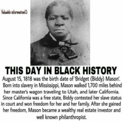 Bridget (Biddy) Mason, Nurse and a Californian real estate entrepreneur and philanthropist. She is the founder of the First African Methodist Episcopal Church in Los Angeles, California.