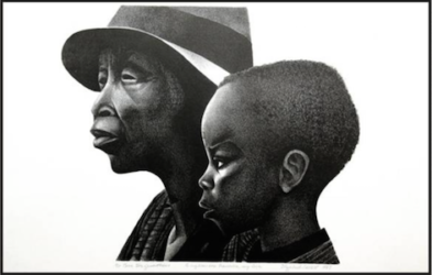 """These Two Generations"" Lithograph by Elizabeth Catlett, 1987"