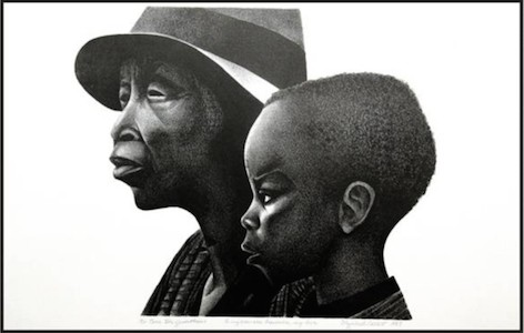 """""""These Two Generations"""" Lithograph by Elizabeth Catlett, 1987"""