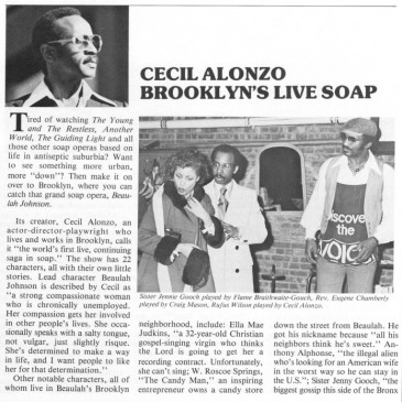 Cecil Alonzo: Brooklyn's Live Soap