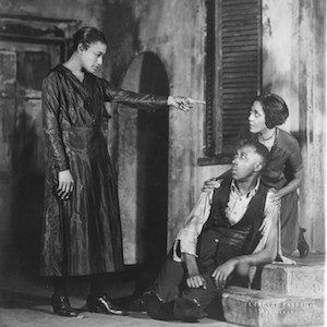 The Rose McClendon Players (1937-1942) : Left to right: Rose MacClendon (Serena), Frank Wilson (Porgy) & Evelyn Ellis (Bess) in a scene from Porgy 1927 (photographer- Florence Van Damm)