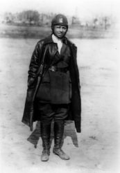 Bessie Coleman (1896-1926) was the first African American woman to earn an aviator's license. Unable to find anyone willing to train a black woman to fly in the US, Bessie learned French so that she could learn to fly in France.