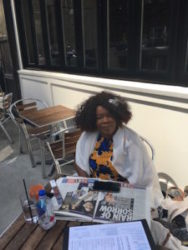 Bobbi Humphrey, Jazz Flutist, lunching in the sun. We hadn't seen for at least 20 years. Bobbi'd just returned from a concert tour in Japan.