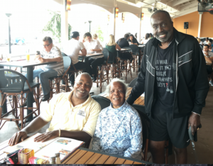 "L-R) Michael Bunn (Brother), Louise Bunn (94 years--Mother, Ronn Bunn) & Earl ""The Pearl"" Monroe."