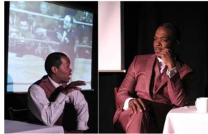 Reggie Wilson portraying Sugar Ray Robinson
