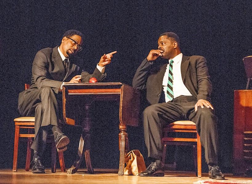 Daniel Carlton left as Malcolm X, Michael Green as MLK on the right