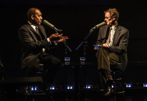 Joe Morton (L) John Carlin (R) in a scene from Turn Me Loose""