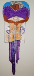 """Ding McCannon's """"Age Ain't What It Used to Be"""". Art Quilt - Mixed Media 65"""" x 25"""" Photos by Burroughs Lamar"""