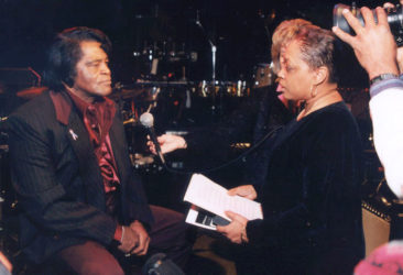 Beverly Lindsay-Johnson interviews James Brown for the documentary Dance Party: The Teenarama Story. (Photo Credit: James Preston, Sr.)
