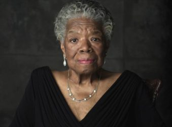 "In the documentary ""Maya Angelou: And Still I Rise"" Ms. Angelou wearing jewelry made by Sandy Baker"