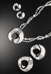 Bialy Collection in sterling silver-necklace and 2 sizes of earrings.