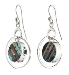 """Bolero"" earrings with exclusive Baker inlay of abalone and brown mother-of-pearl."