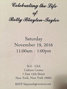 Betty Blayton Taylor Memorial