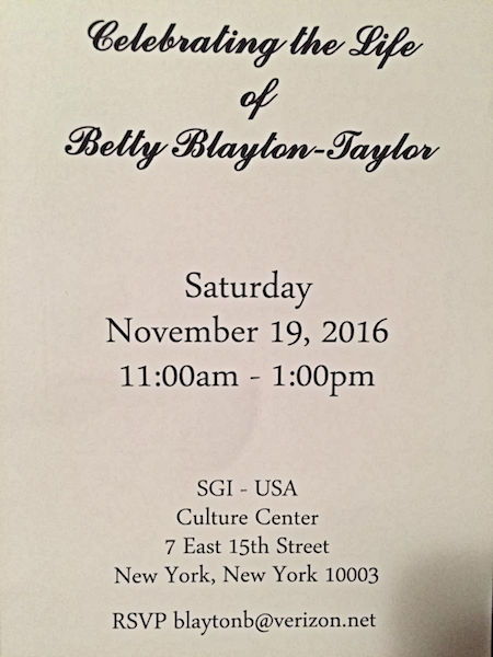 Betty Blayton Taylor Memorial