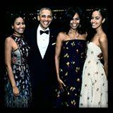 Sasha, President Barack,  Michelle & Malia Obama