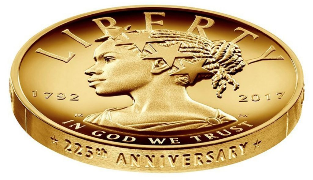 $100 collector's item struck in 24-karat gold – features Lady Liberty, for the first time portrayed as an African-American woman.