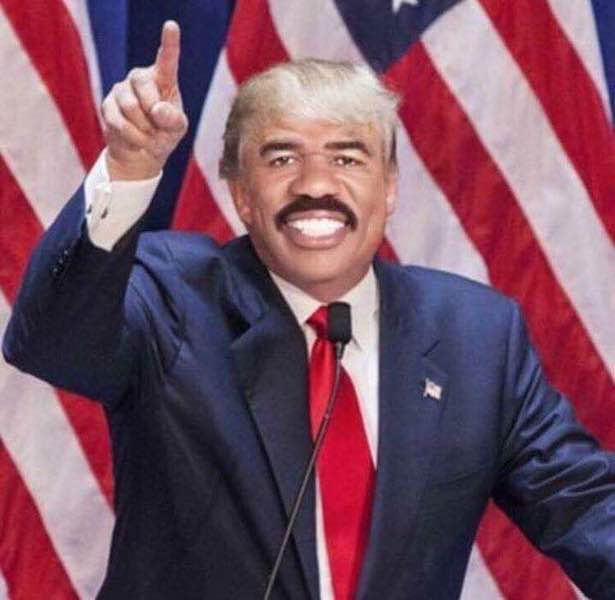 Steve Harvey American Flag and Donald Trump Blond Wig