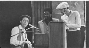 """Weldon Irvine, Jr. (l) wrote the script, music and lyrics for """" Young, Gifted & Broke.'' Starring as Mose, he has candid conversation with Flip(Ron Mcintyre,c), and Clyde (Avan Liules, r)."""