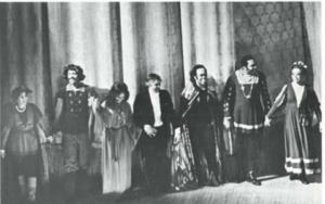 (L-R) Hilda Harris, Mezzo: Arthur Thompson, Baritone; Rochelle Poffer, Soprano; Everett Lee, Conductor; Benjamin Maffhews; Bass: Moises Parker, Tenor; and Carolyn Srm!ford, Mezzo