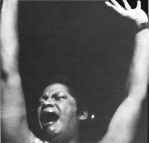 """Mama Louise (Brenda be Brown) of """"Young, Gifted and Broke"""" exemplified positive attitude of Black Theatre as she sings about the virtues of black men."""