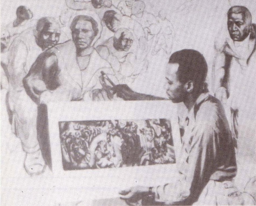 """Charles White at work On the mural """"Five Great American Negroes."""""""