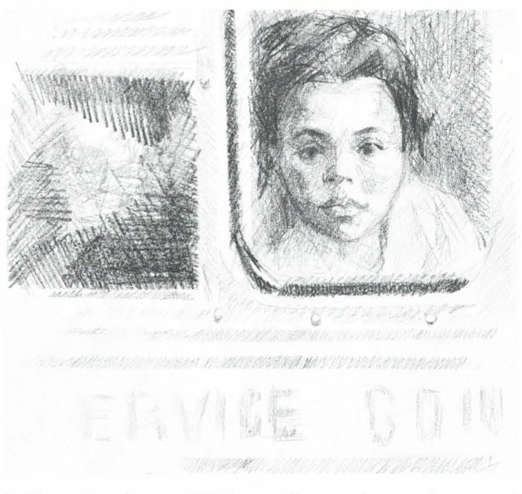 Sketch of young girl looking our of a bus window