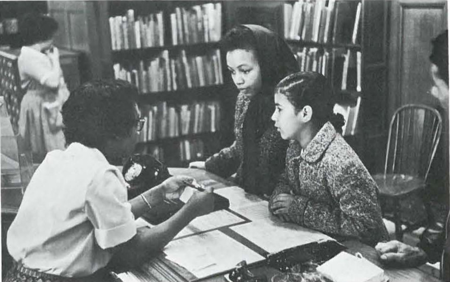 Mother and Daughter with Librarian