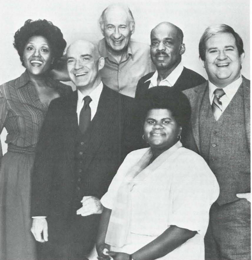 """Shirley Hemphill and Mel Stewart ''One Million."""" Ann Weldon, Keen Curtis, Carl Ballantine, Mel Stewart and Richard Paul (background, left to right)"""