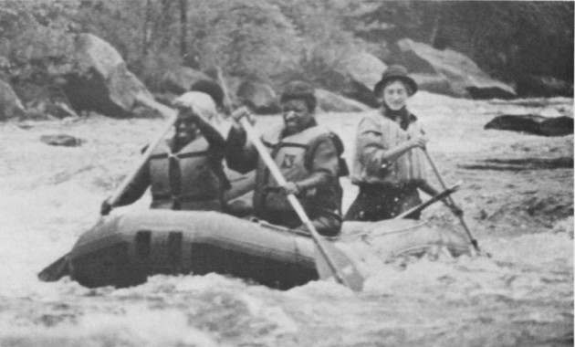 ROUTES travel writer Estelle Epps (left) fights the elements