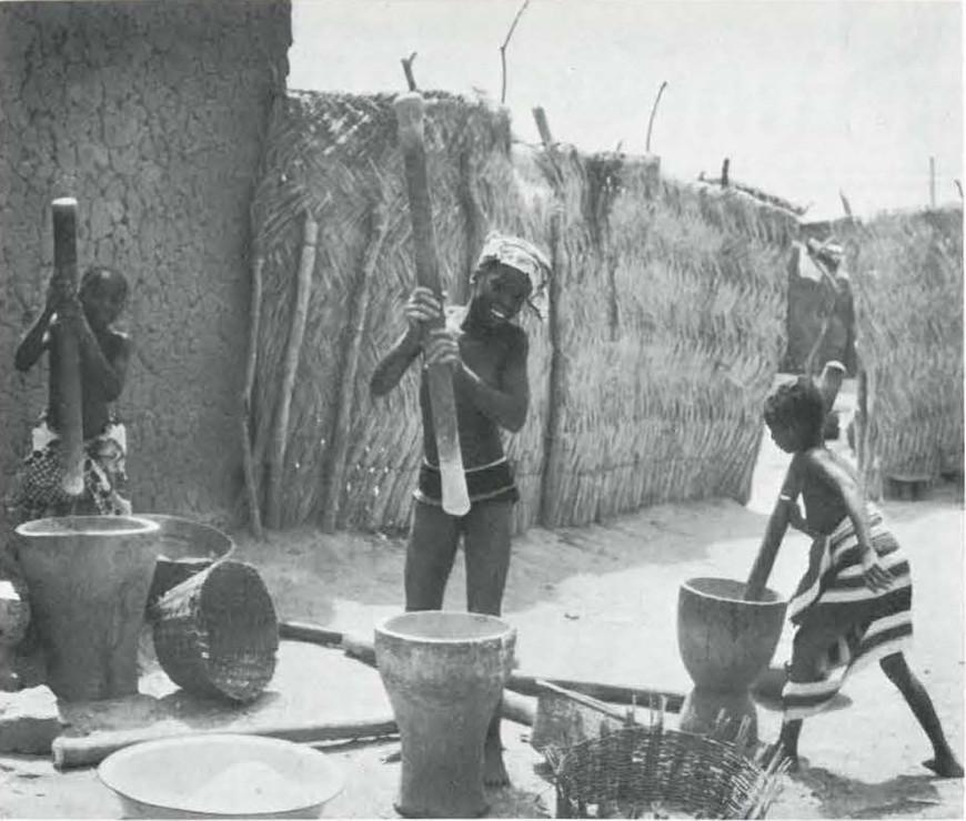 Women Pounding Grain Near Segou