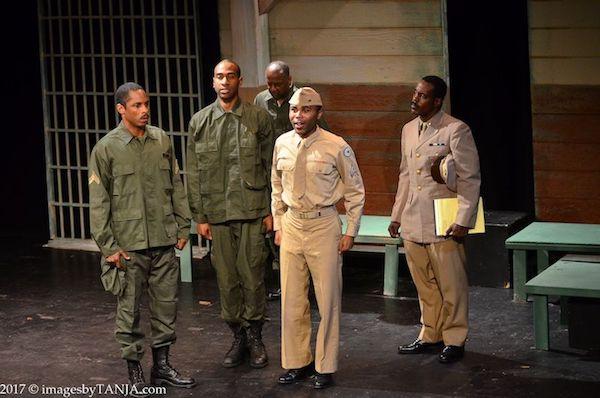 L to R. Corporal Cobb (Jay Ward); Private Henson (Horace Glasper); Private Wilkie (Fulton C. Hodges); Corporal Ellis (Aaron Lloyd) with Captain Davenport (Chaz Reuben*)