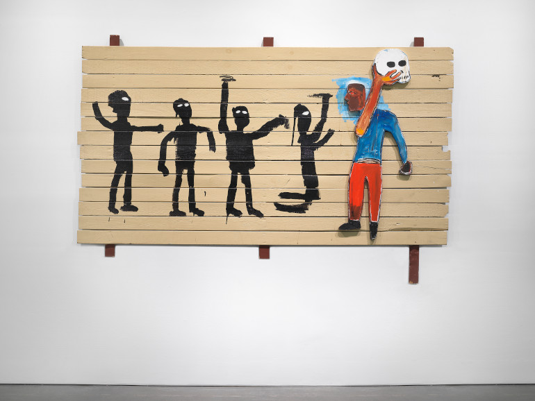 """Jean-Michel Basquiat, Procession (1986), """"Grief and Grievance: Art and Mourning in America,"""" 2021. Exhibition view: New Museum, New York. Photo: Dario Lasagni"""