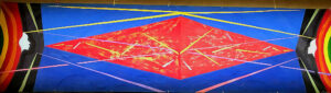 """PYRAMID IN SPACE"" • circa 1997-98 • Acrylic on Canvas • 19ft X 5ft • Photo by Donna Mason"