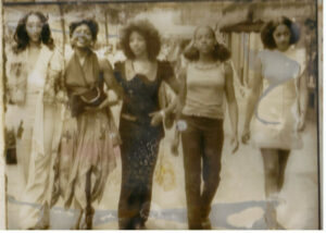 Sister Sledge & Barbara (second from left) walking down 57th St
