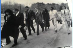 Walking to Falmouth Prison(l-r) Sheila Banks WNAC-TV, F. Lee Bailey, Attorney, Larry Parnell, Wayne Smith, Barbara Harris, B B King, Sid Seidenberg, B B King's Manager