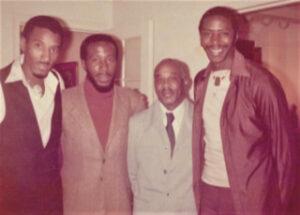 (l-r ) Family Thomas: Verl, Ademola Olugebefola, Harold II (Father), Harold III - mid-1970s