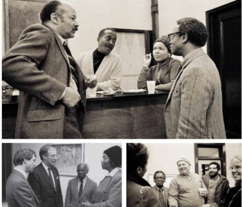 Top: Felrath Hines, Norman and Ouida Lewis, Ernest Crichlow at Cinque Gallery, c. 1970−73. © ChesterHiggins/chesterhiggins.com Left: Ernest Crichlow, Ruth Jett with Cinque Gallery friends, c. 1990s Right: Ernest Crichlow, Romare Bearden, Herbert Gentry and family at Cinque Gallery, c. 1970−73. © ChesterHiggins/chesterhiggins.com
