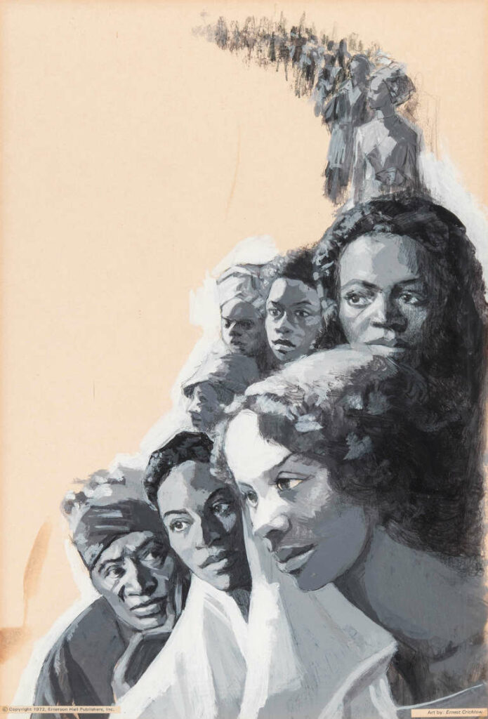 Ernest Crichlow, The Strengths of Black Families, c. 1970—73, oil on board, 15 x 10 1⁄2 in. © Estate of Ernest Crichlow. Courtesy Alfred E. Prettyman